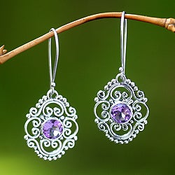 Sterling Silver 'Gianyar Muse' Amethyst Earrings (Indonesia)