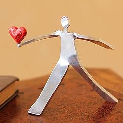 Aluminum 'A Heart for Love' Sculpture , Handmade in Peru