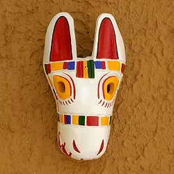 Handcrafted Pinewood 'Dancing Horse' Mask (Guatemala)