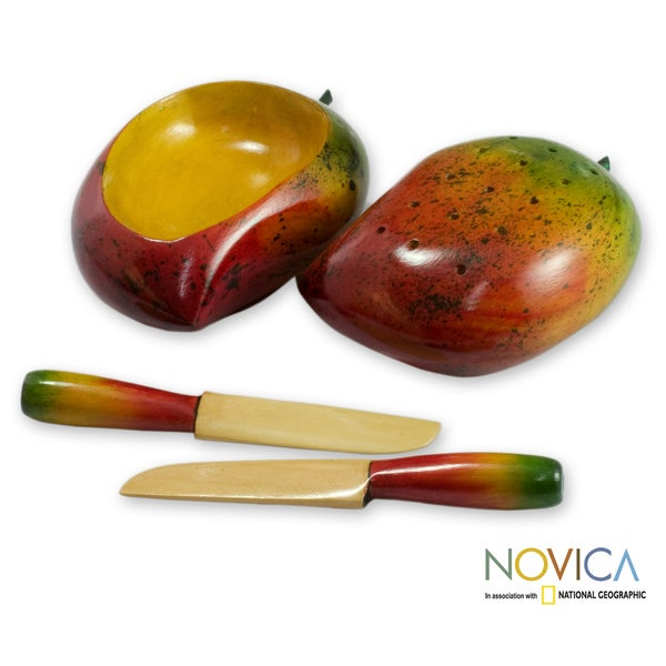 Handcrafted Cypress Wood 'Tropical Mango' Canape Set (Guatemala)