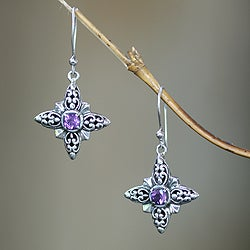 Handcrafted Sterling Silver 'Celuk Star' Amethyst Earrings (Indonesia)