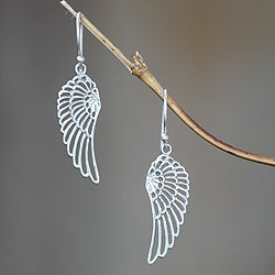 Handcrafted Sterling Silver 'Wings' Earrings (Indonesia)