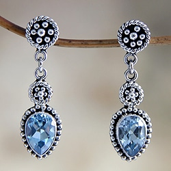Sterling Silver 'Balinese Jackfruit' Blue Topaz Earrings (Indonesia)