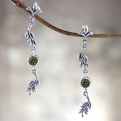Sterling Silver 'A New Leaf' Peridot Earrings (Indonesia)