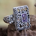 Handcrafted Sterling Silver 'Mythic Garden' Amethyst Ring (Indonesia)