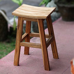Handcrafted Reclaimed Teakwood 'Ubud Boogie' Bar Stool (Indonesia)