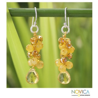 Handcrafted Citrine 'Golden Glam' Earrings (Thailand)