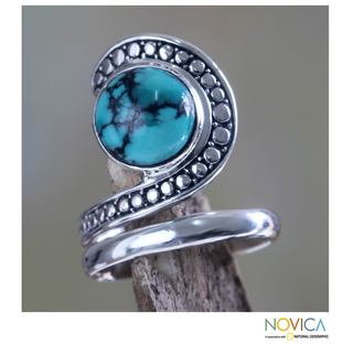 Sterling Silver 'Sanur Swirl' Reconstituted Turquoise Ring (Indonesia)