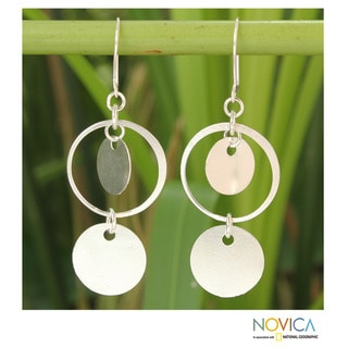 Handcrafted Sterling Silver 'Moonlight Charm' Earrings (Thailand)