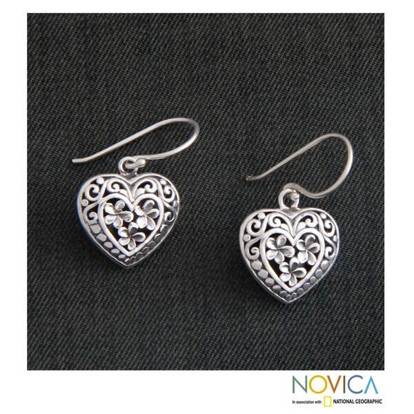 Sterling Silver 'Loyal Hearts' Earrings (Indonesia)