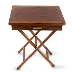 Teakwood and Leather Accent 'Malioboro Style' Accent Table (Indonesia)