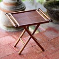 Handcrafted Teakwood Leather 'Java Dutch' Folding Table (Indonesia)