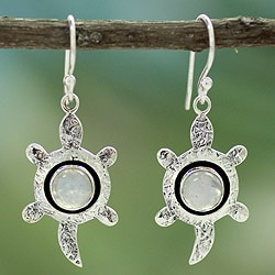 Sterling Silver 'Turtle Wisdom' Moonstone Earrings (India)