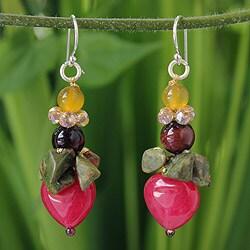 Sterling Silver 'Thai Heartbeat' Multi-gemstone Earrings (Thailand)