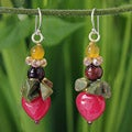 Sterling Silver 'Thai Heartbeat' Multi-gemstone Earrings (Thailand)