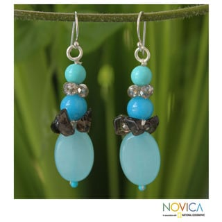 Sterling Silver 'Peaceful Sky' Multi-gemstone Earrings (Thailand)