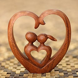 Handcrafted Suar Wood 'Story of Love' Sculpture (Indonesia)