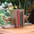 Set of 2 Handcrafted Ofram Wood 'Happy Camels' Bookends (Ghana)
