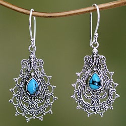 Sterling Silver 'Blue Lace' Recon Turquoise Earrings (Indonesia)