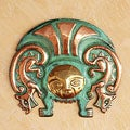 Copper and Bronze 'Moche Warrior Insignia' Inca Mask (Peru)