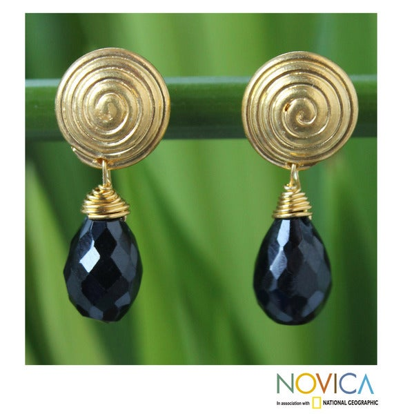 Gold Overlay Spinel Dangle Earrings 'Hypnotic Black Moon' (Thailand)