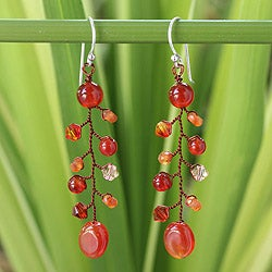 Handcrafted Carnelian 'Thai Sun' Earrings (Thailand)