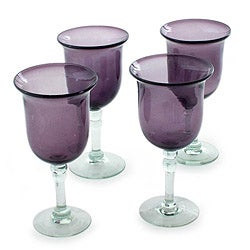Set of 4 Handcrafted Blown Glass 'Amethyst Tulip' Goblets (Mexico)