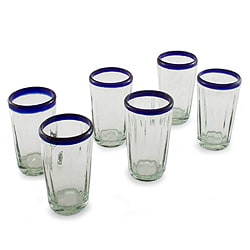 Set of 6 Handcrafted Blown Glass 'Cobalt Groove' Tumblers (Mexico)
