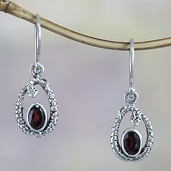 Sterling Silver 'Rainforest Goddess' Garnet Earrings (Indonesia)