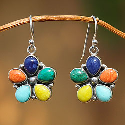 Handcrafted Sterling Silver 'Andean Bouquet' Gemstone Earrings (Peru)