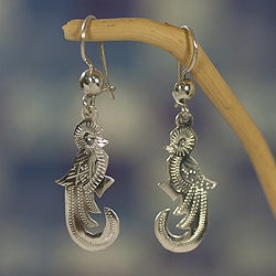 Sterling Silver 'Quetzal Song' Earrings (Guatemala)