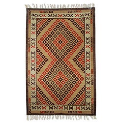 Hand-woven Wool 'Warm Diamond Zigzag' Brown Rug (5'5 x 8) (India)