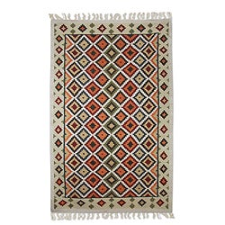 Hand-woven Wool 'Diamond Illusion' Olive Brown Rug (5 x 8) (India)