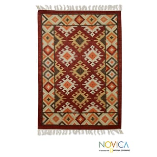 Hand-woven Wool 'Mirzapur Glory' Red Brown Rug (4x6) (India)