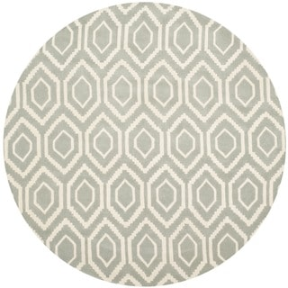 Handmade Moroccan Gray Abstract Wool Rug (7' Round)