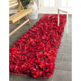 Safavieh Hand-woven Chic Red Shag Rug (2'3 x 11')
