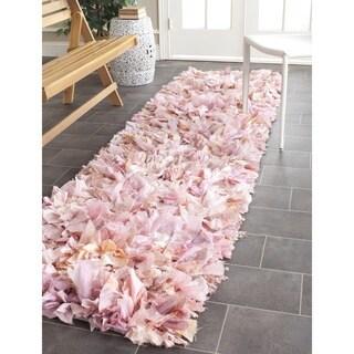 Safavieh Hand-woven Chic Pink Shag Rug (2'3 x 11')