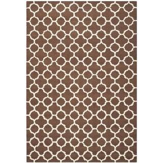Safavieh Handmade Cambridge Moroccan Dark Brown Geometric Pattern Wool Rug (4' x 6')