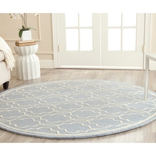 Safavieh Handmade Moroccan Cambridge Light Blue Wool Rug (6' Round)