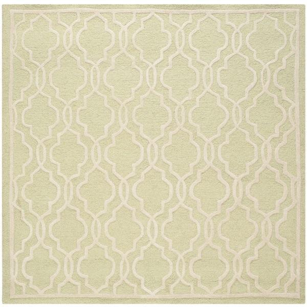 Safavieh Handmade Cambridge Moroccan Light-Green Angular-Motif Wool Rug (6' Square)