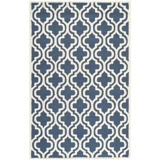 Contemporary Safavieh Handmade Cambridge Moroccan Navy Wool Rug (5' x 8')