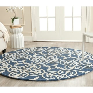 Safavieh Handmade Cambridge Moroccan Navy Wool Indoor Rug (6' Round)