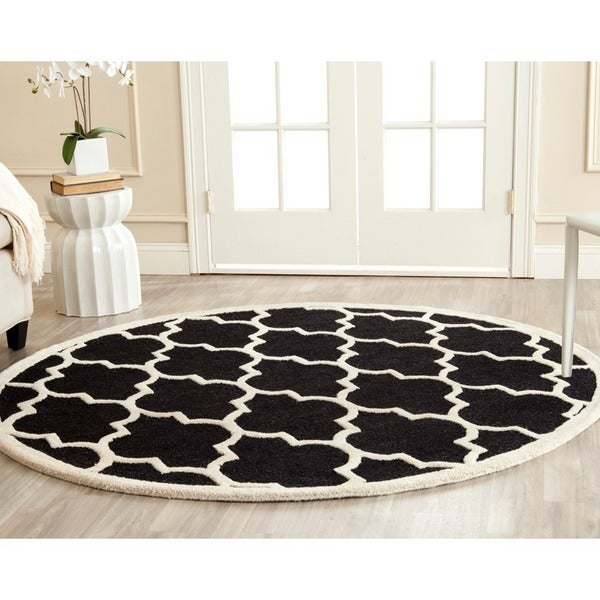 Safavieh Handmade Cambridge Moroccan Black Wool King Print Rug
