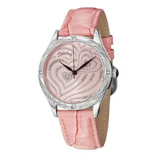 Stuhrling Original Women's Aphrodite Elegante Quartz Swearovski Crystal Leather Strap Watch