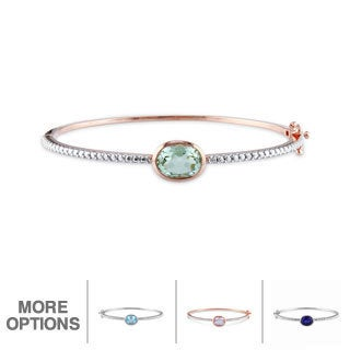 Miadora Sterling Silver Gemstone Bangle with Bonus Earrings