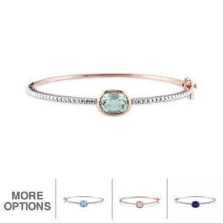 Miadora Sterling Silver Gemstone Bangle