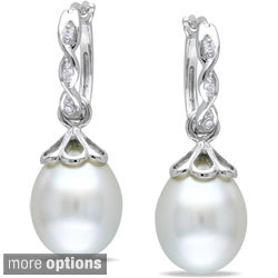 Miadora 14k White Gold Pearl and Diamond Earrings (9-9.5 mm)