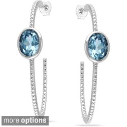 Miadora Sterling Silver Gemstone Hoop Earrings