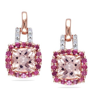 Miadora Rose-plated Silver Multi-gemstone and Diamond Earrings