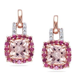 Miadora Rose-plated Silver Multi-gemstone and Diamond Earrings